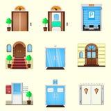 门的风格化五颜六色的象 免版税库存图片
