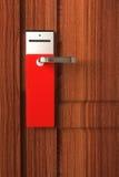 门空的把柄红色标签 免版税库存图片