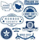 门罗县,纽约 套邮票和标志 免版税图库摄影