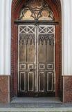门装饰在伪造的铁老镇 库存照片