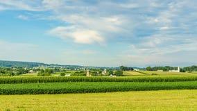 门诺派中的严紧派的国家农厂谷仓领域农业在兰卡斯特, PA 免版税图库摄影