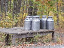 门诺派中的严紧派的牛奶罐头 库存照片