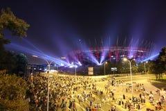 门面全国体育场的照明在华沙,波兰 库存图片