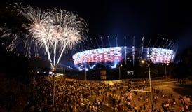 门面全国体育场的照明在华沙,波兰 免版税图库摄影