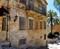门面在Ermoupolis锡罗斯岛,希腊 免版税图库摄影