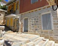 门面在Ermoupolis锡罗斯岛,希腊 库存照片