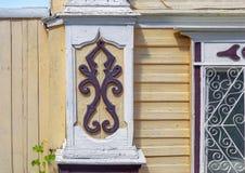 门面的片段其中一个房子在Semenov市 下诺夫哥罗德地区,俄罗斯 免版税库存照片