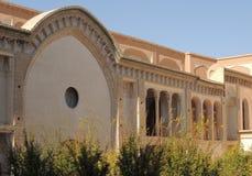 门面,传统宫殿房子大阳台在喀山,伊朗 免版税库存照片