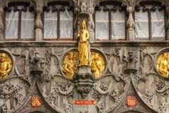 门面 圣洁血液的大教堂 布鲁日 比利时 库存图片