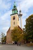 门面Marienkirche (圣玛丽教会)在柏林 免版税库存图片