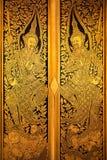 门,单块玻璃镶边泰国艺术 免版税库存照片