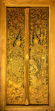 门,单块玻璃镶边泰国艺术 图库摄影