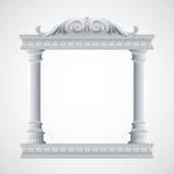 门廓一个古老寺庙 柱廊 向量 库存照片