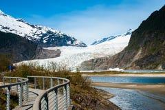 门登霍尔阿拉斯加冰川 免版税库存图片