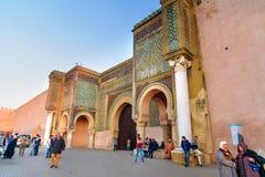 门Bab曼索在梅克内斯,摩洛哥 免版税库存图片