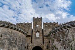 门d'Amboise在罗得岛,希腊 免版税库存照片