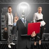 闪亮指示顶头人和企业小组 免版税库存图片
