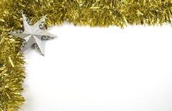 闪亮金属片和星圣诞节装饰 免版税图库摄影