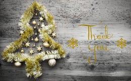 闪亮金属片圣诞树,书法,谢谢 库存照片