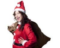 闪光妇女的圣诞老人 图库摄影