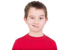 闪光对照相机的逗人喜爱的年轻男孩 免版税图库摄影
