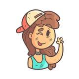 闪光盖帽、窒息物和蓝色顶面手拉的Emoji凉快的被概述的画象的女孩 皇族释放例证