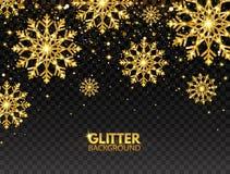 闪烁与落的微粒的金雪花在透明背景 与星团的发光的金黄雪花 向量例证