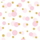 闪烁五彩纸屑圆点无缝的样式背景 金黄和粉红彩笔时髦颜色 对生日,华伦泰 图库摄影