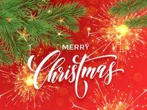 闪烁发光物和烟花轻的圣诞快乐贺卡 库存照片