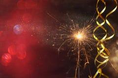 闪烁发光物的抽象图象 新年和庆祝概念 免版税库存图片