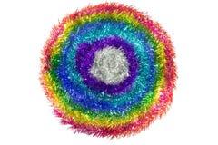 闪烁圣诞节装饰的彩虹条纹在圈子样式 免版税库存照片
