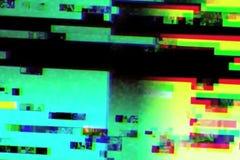 闪烁抽象现实屏幕的小故障,与坏干涉,静态噪声背景的模式葡萄酒电视信号 免版税库存照片