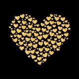 闪烁金黄心脏卡片  免版税图库摄影
