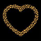 闪烁金黄心脏卡片  库存图片