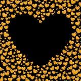 闪烁金黄心脏卡片  免版税库存照片