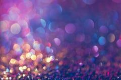 闪烁金bokeh Colorfull弄脏了bir的抽象背景 免版税图库摄影