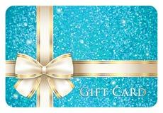 从闪烁组成的绿松石发光的礼品券 免版税库存图片