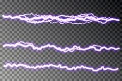 闪电在方格的背景隔绝的疾风传染媒介 电的放电 雷电闪电 向量例证