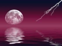闪电月亮 免版税库存图片