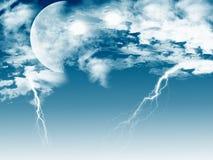 闪电月亮 图库摄影