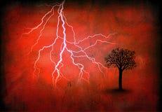 闪电红色结构树 免版税库存图片