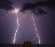 闪电雨天空 库存照片
