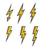闪电雷电象传染媒介 一刹那标志例证 被设置的照明设备一刹那象 在白色背景的平的样式和中断 皇族释放例证