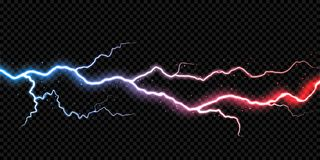 闪电霹雳电闪光火花雷电风暴光传染媒介透明背景 向量例证