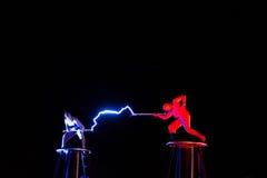 闪电高压电展示的阁下 图库摄影