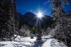 闪耀在天空,在波兰Tatra山的美好的晴天 库存图片