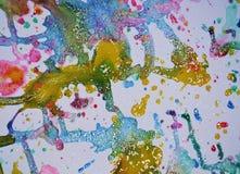 闪耀的冬天光金子给生动的水彩油漆,五颜六色的颜色打蜡 库存图片