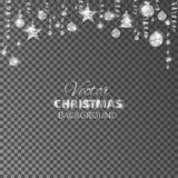 闪耀的圣诞节闪烁装饰品 银色节日边界 有垂悬的球和丝带的欢乐诗歌选  库存例证