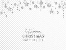 闪耀的圣诞节闪烁装饰品 银色节日边界 有垂悬的球和丝带的欢乐诗歌选  皇族释放例证