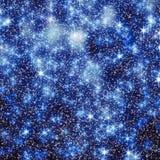 闪耀的星在社会媒介的夜空背景中 库存例证